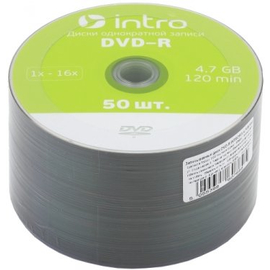 Диск Intro DVD-R 16х 4,7 GB Shrink (50 шт.)